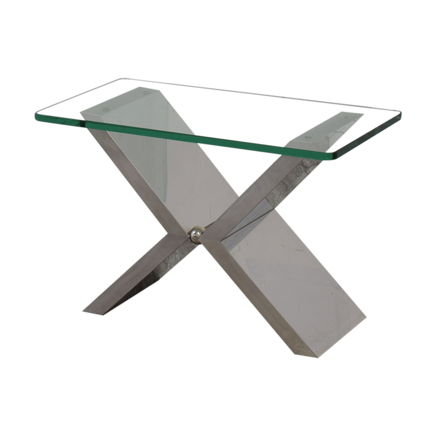 J Robert Scott Modern Glass and Steel Side Table / Accent Tables
