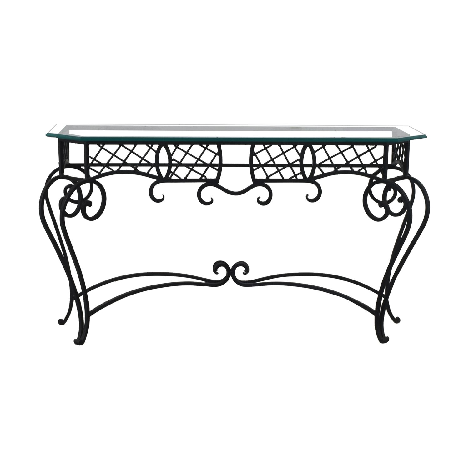 Ethan Allen Ethan Allen Glass Top Console Table black