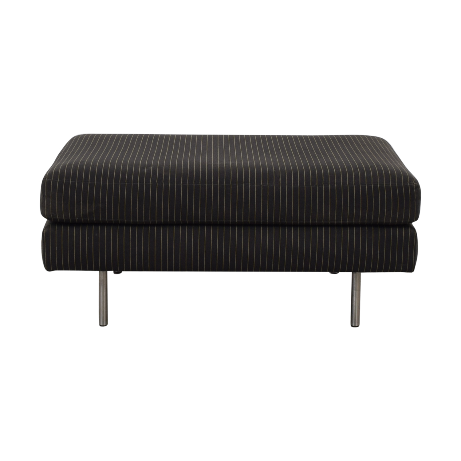 shop Charcoal Pinstripe Fabric Ottoman