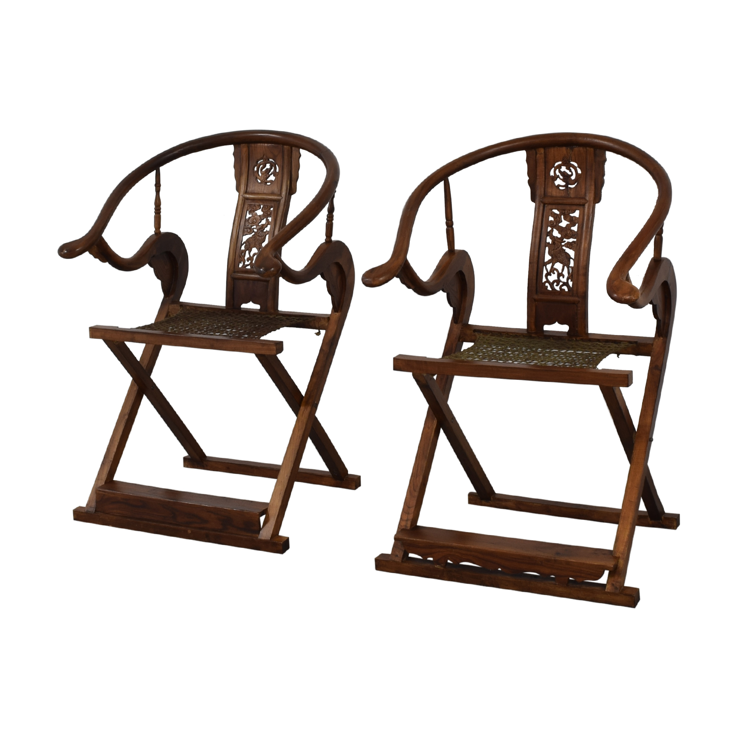 Antique Chinese Emperor Horseshoe Folding Chairs sale