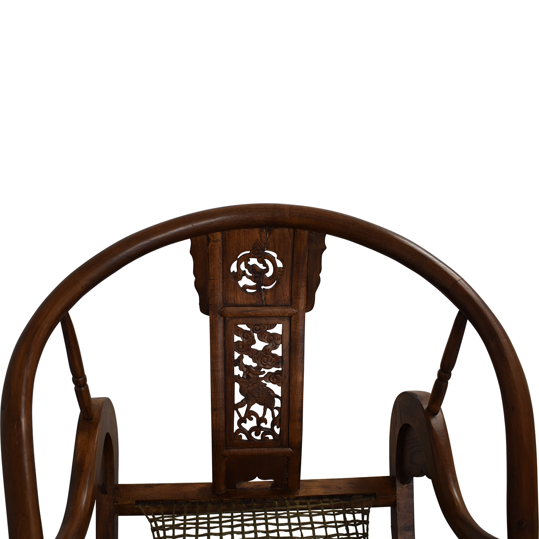 Antique Chinese Emperor Horseshoe Folding Chairs