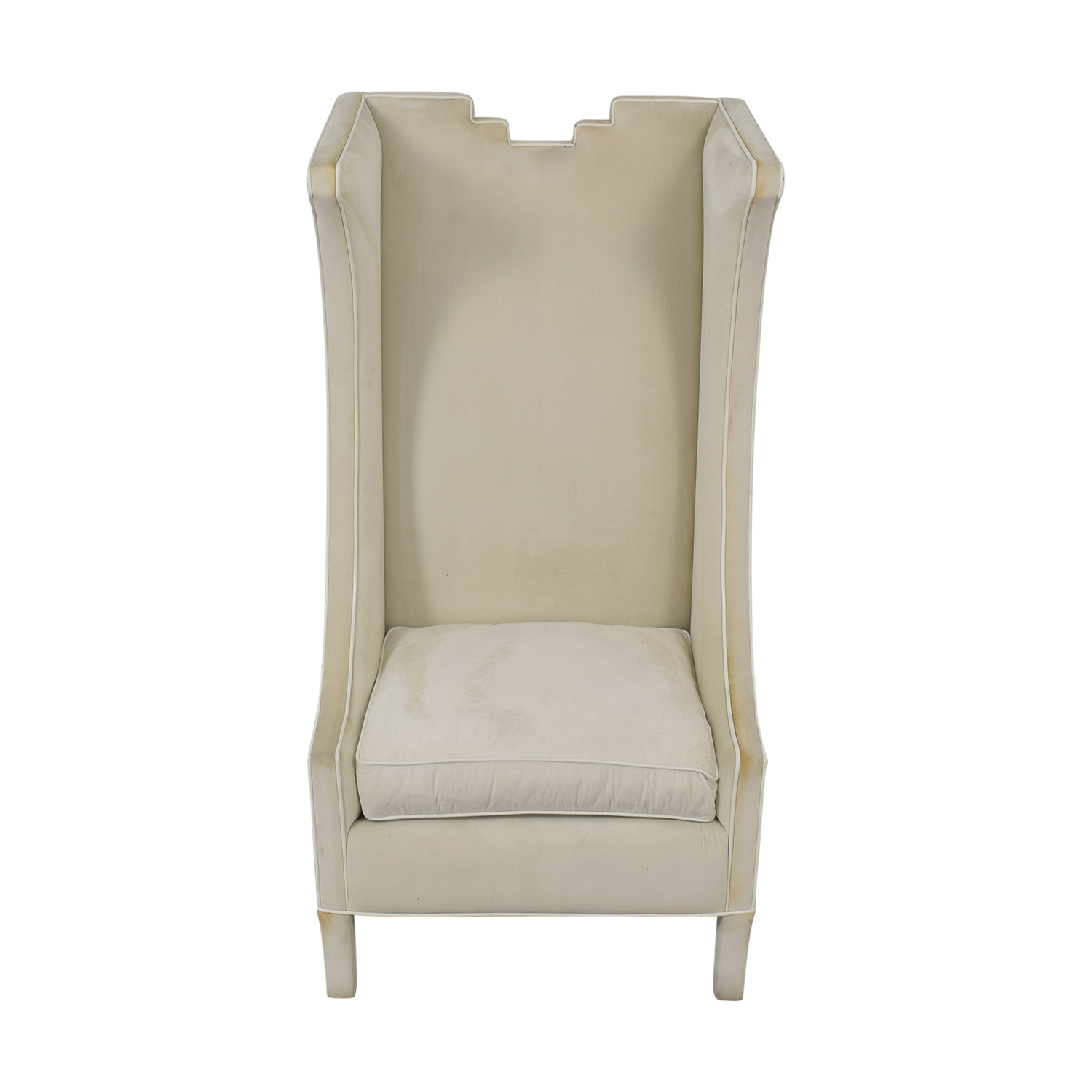 Shine by S.H.O Shine by S.H.O. Lolita High Chair Cotton Velvet and Leather Piping Accent Chairs