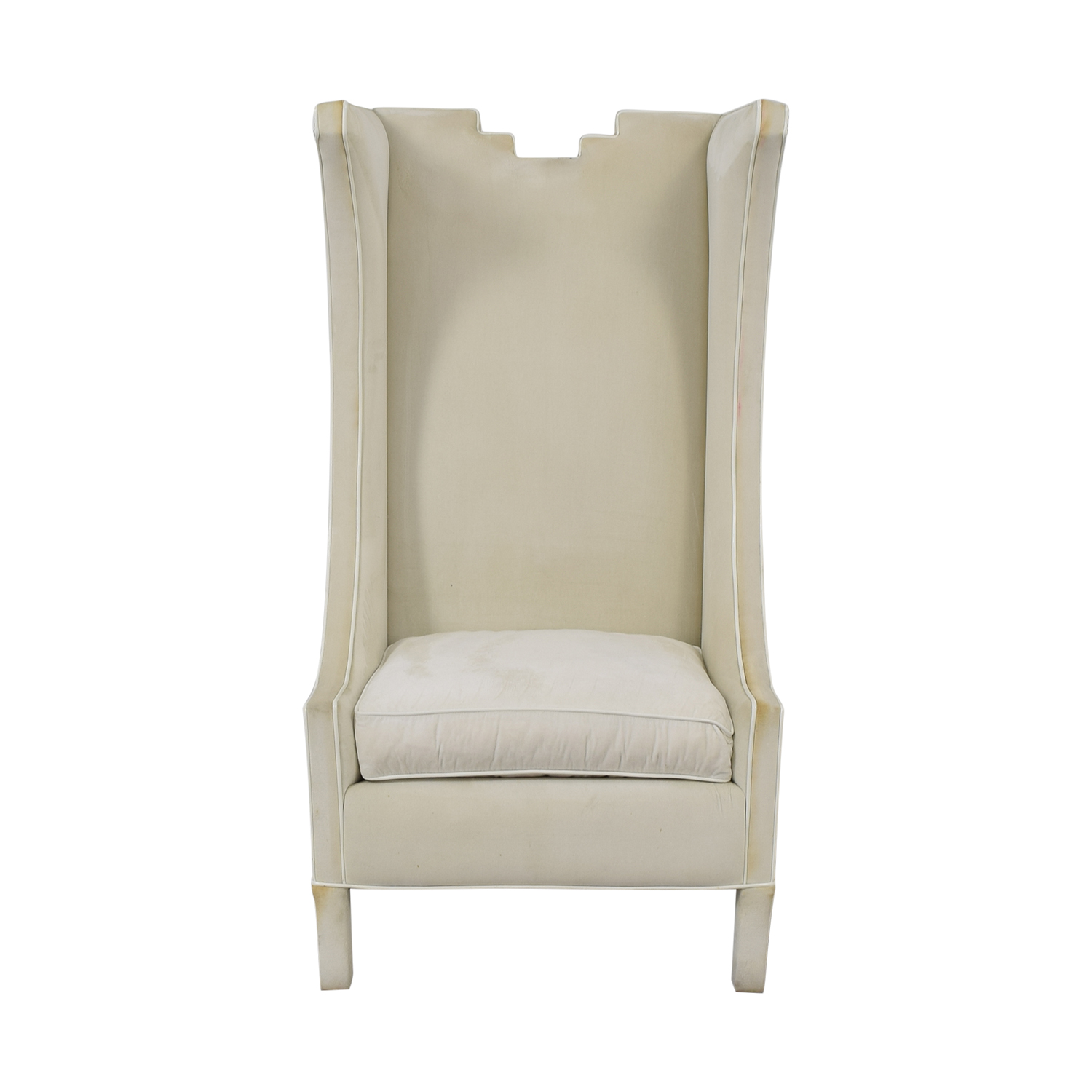 Shine by S.H.O Shine by S.H.O. Lolita High Chair Cotton Velvet and Leather Piping white