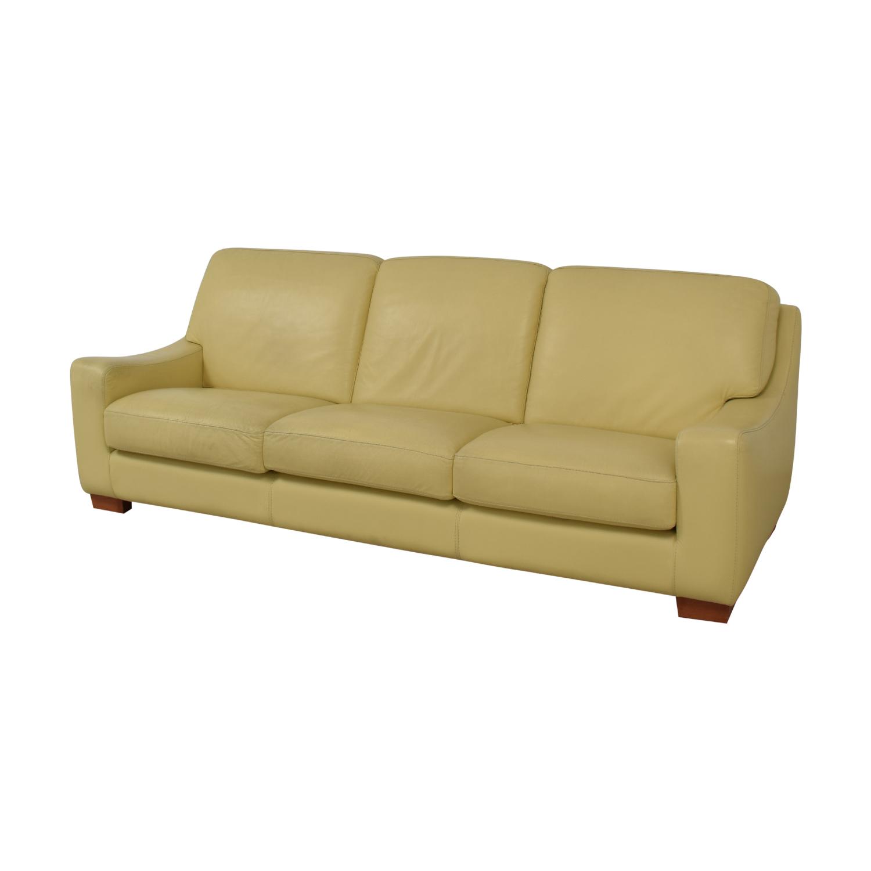 87% OFF - Roche Bobois Mid Century Modern Roche Bobois Leather Sofa / Sofas