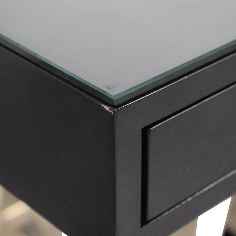 buy Williams Sonoma Mason Ebony Wood Desk with Chrome Sawhorse Legs Williams Sonoma Dining Sets