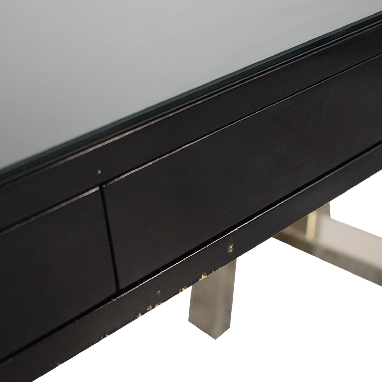Williams Sonoma Williams Sonoma Mason Ebony Wood Desk with Chrome Sawhorse Legs Tables