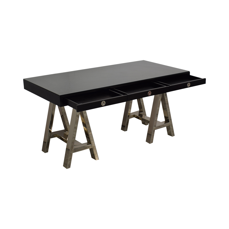 Williams Sonoma Williams Sonoma Mason Ebony Wood Desk with Chrome Sawhorse Legs nyc