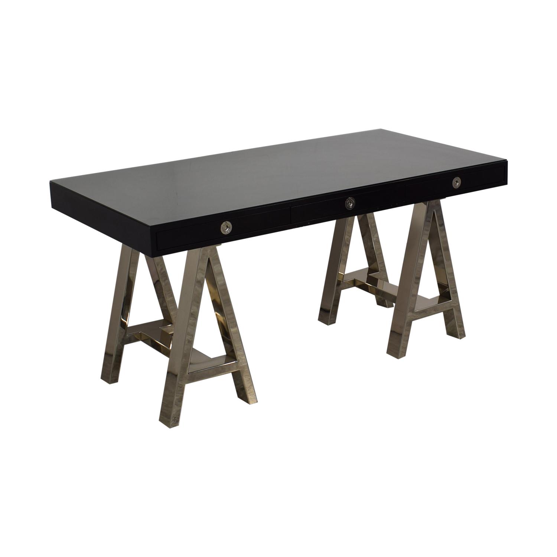 Williams Sonoma Williams Sonoma Mason Ebony Wood Desk with Chrome Sawhorse Legs second hand