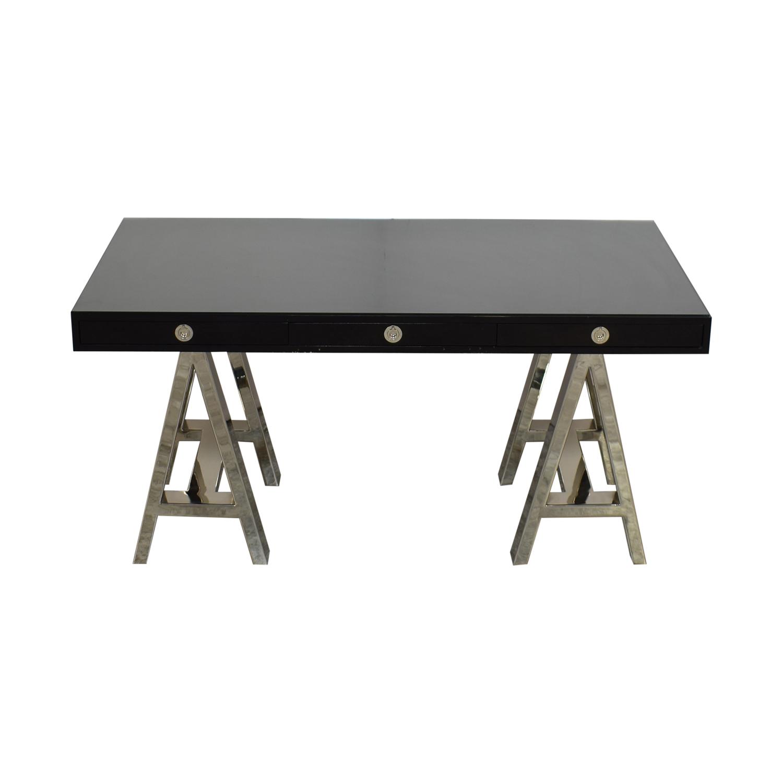 Williams Sonoma Williams Sonoma Mason Ebony Wood Desk with Chrome Sawhorse Legs dimensions