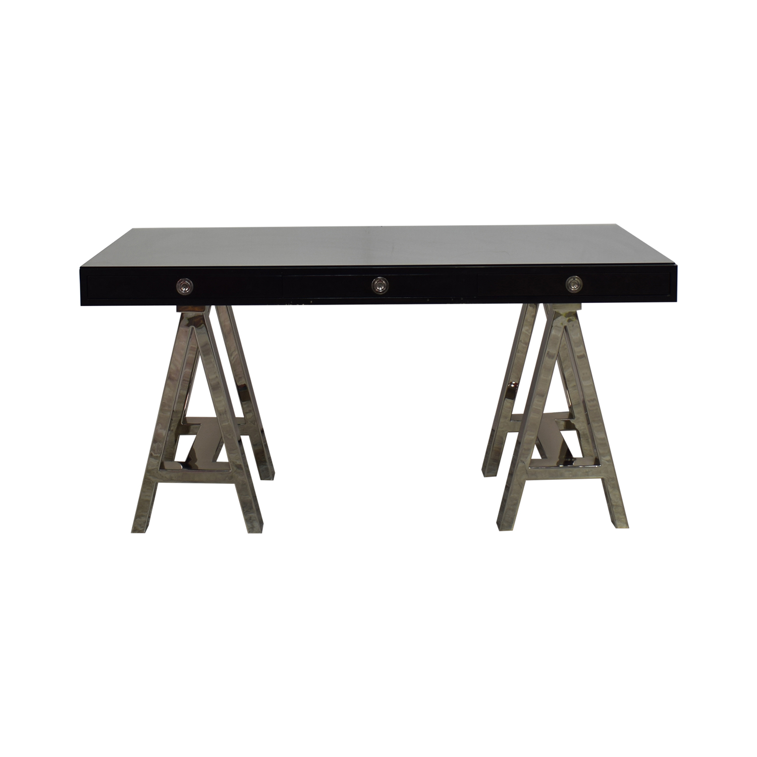 Williams Sonoma Williams Sonoma Mason Ebony Wood Desk with Chrome Sawhorse Legs nyc
