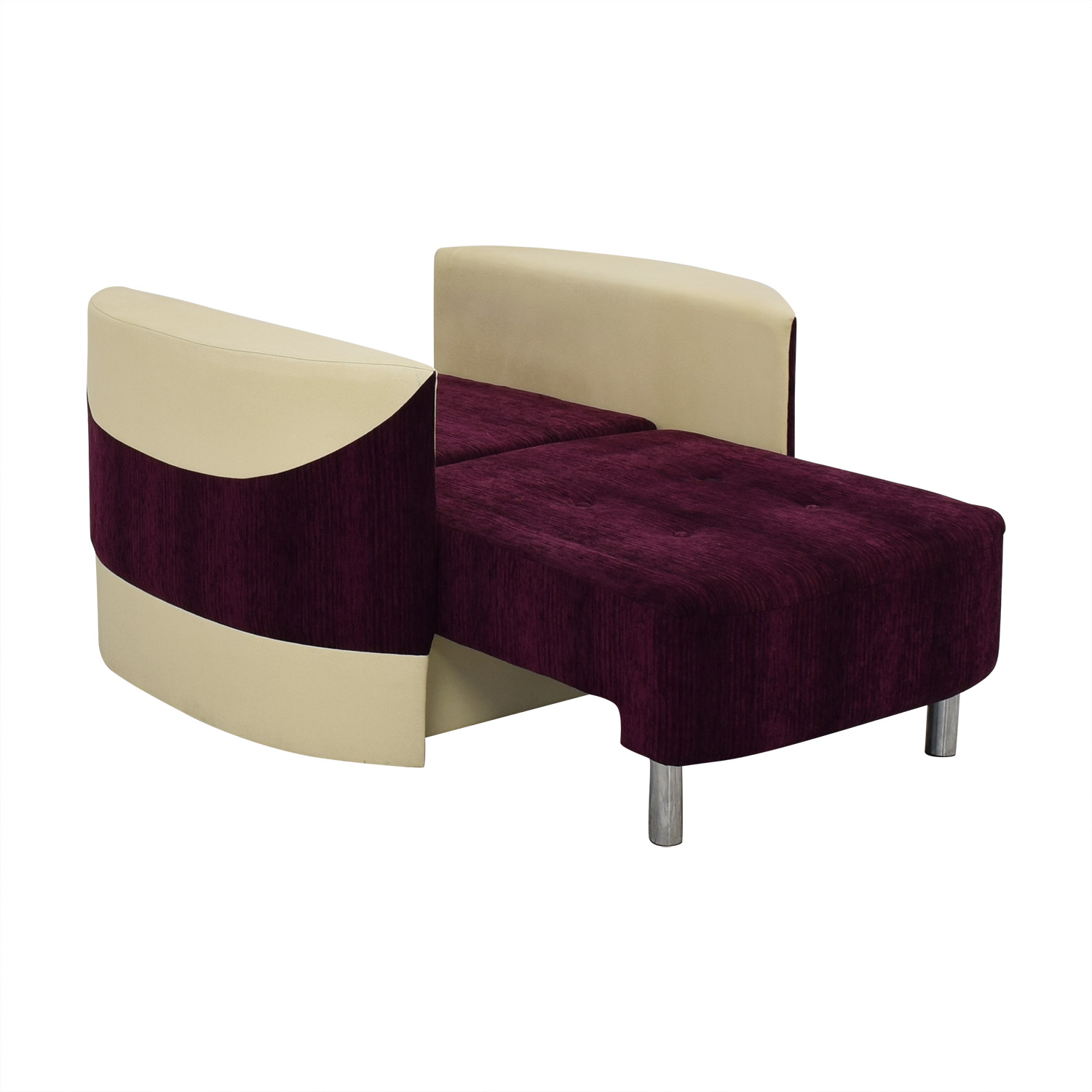 Accent Chair with Fold Down Bed purple & white