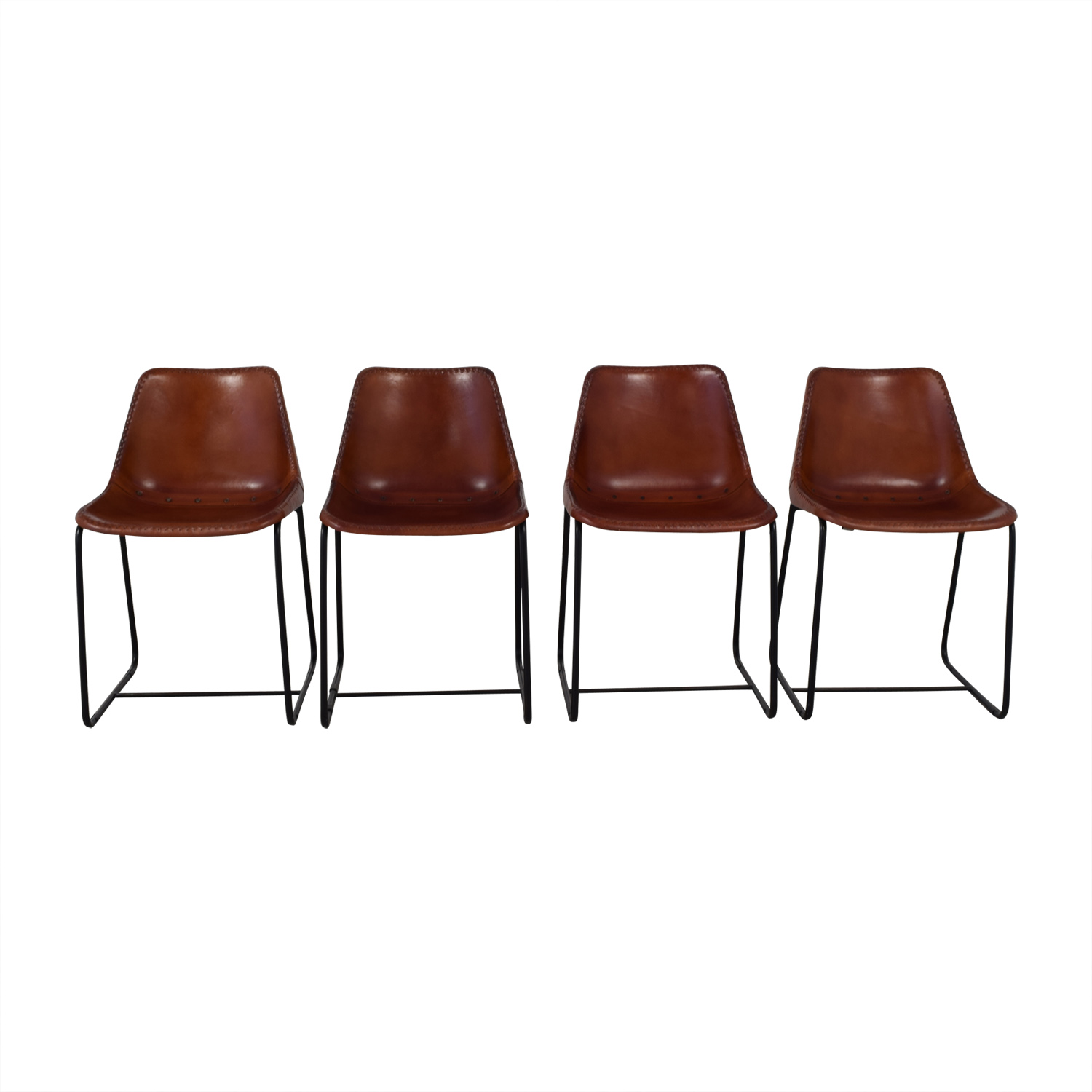 54% OFF   CB2 CB2 Roadhouse Leather Chairs / Chairs