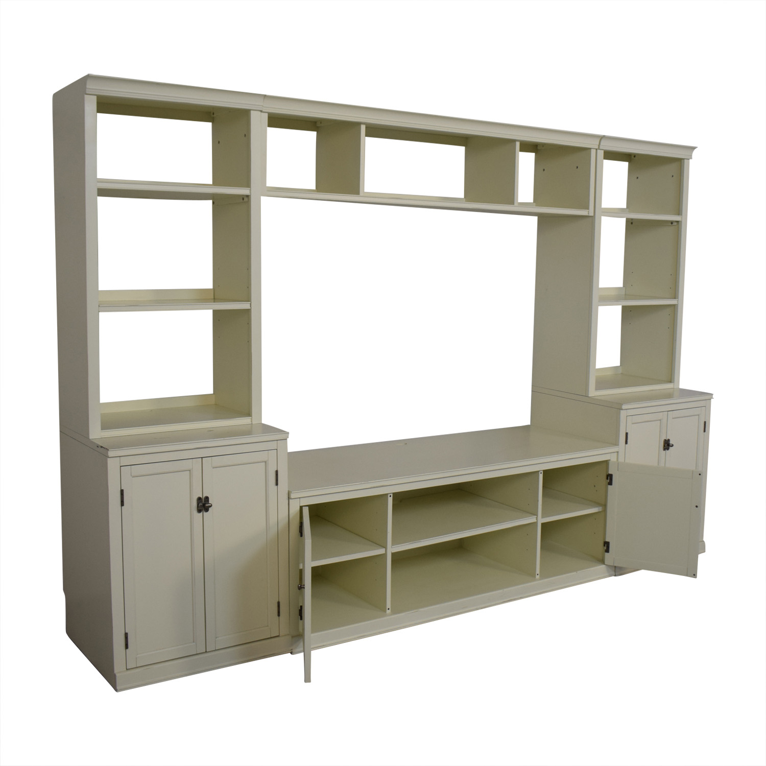 Pottery Barn Logan Entertainment Center Antique White Pottery Barn