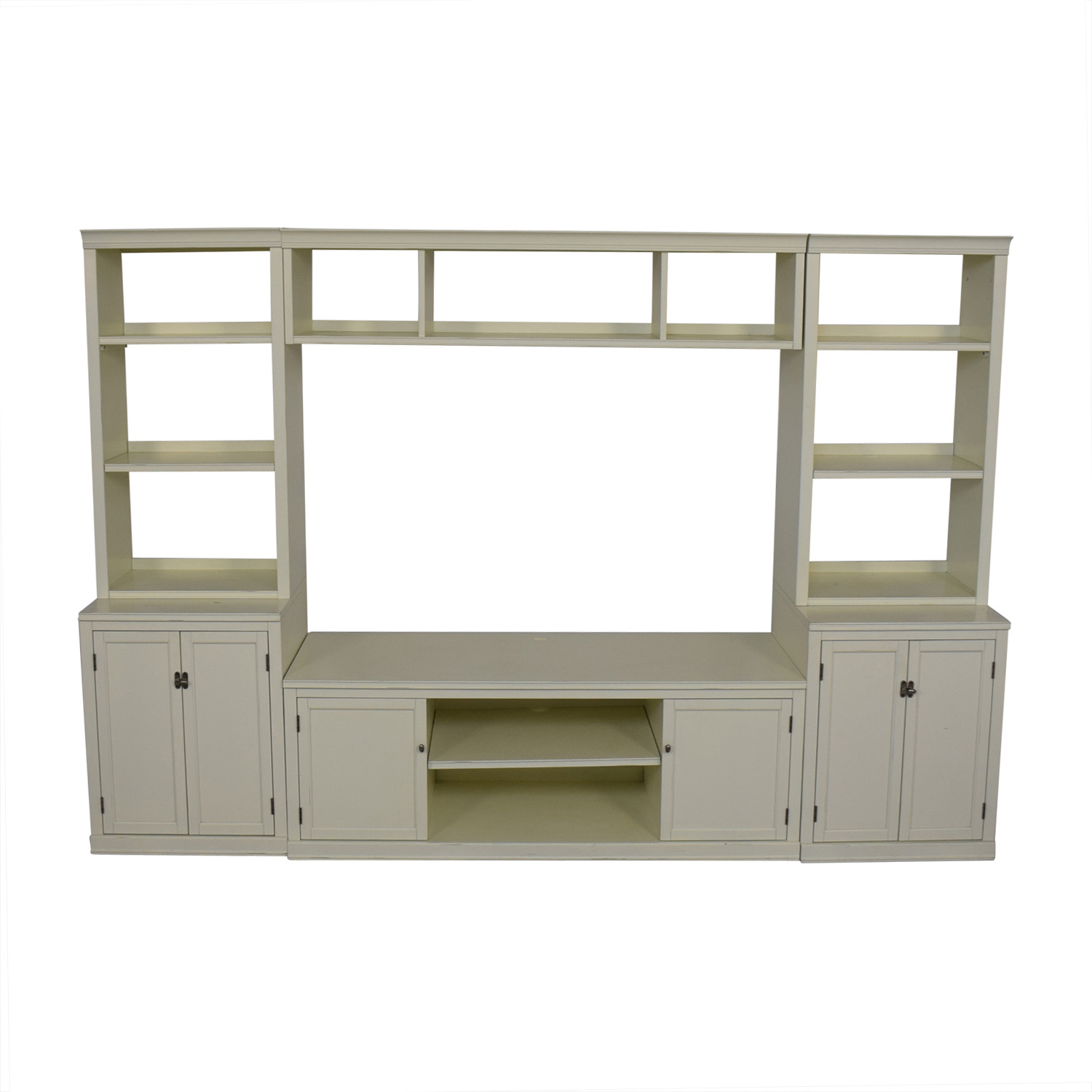buy Pottery Barn Logan Entertainment Center Antique White Pottery Barn Media Units