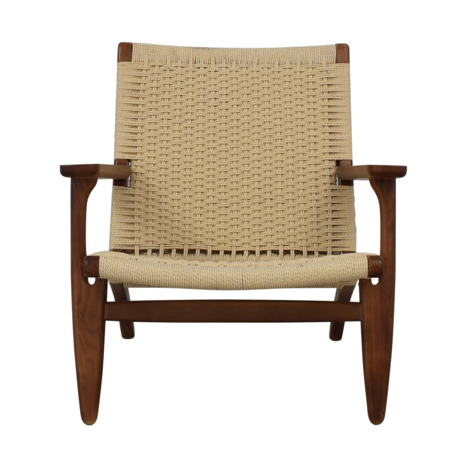 Mid Century Woven Lounger Chair white