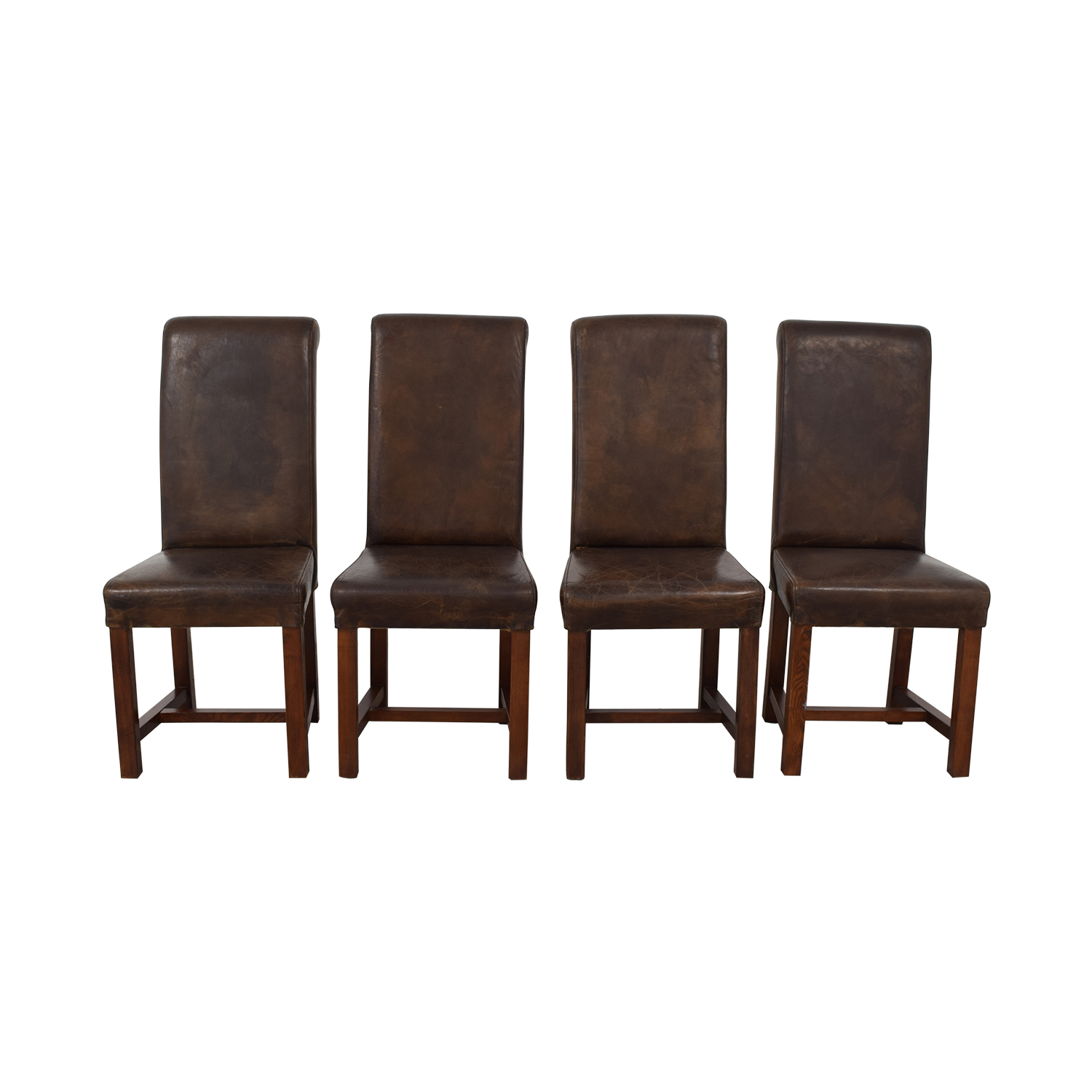 Four Hands Four Hands Faulkner Distressed Brown Leather Chairs nyc