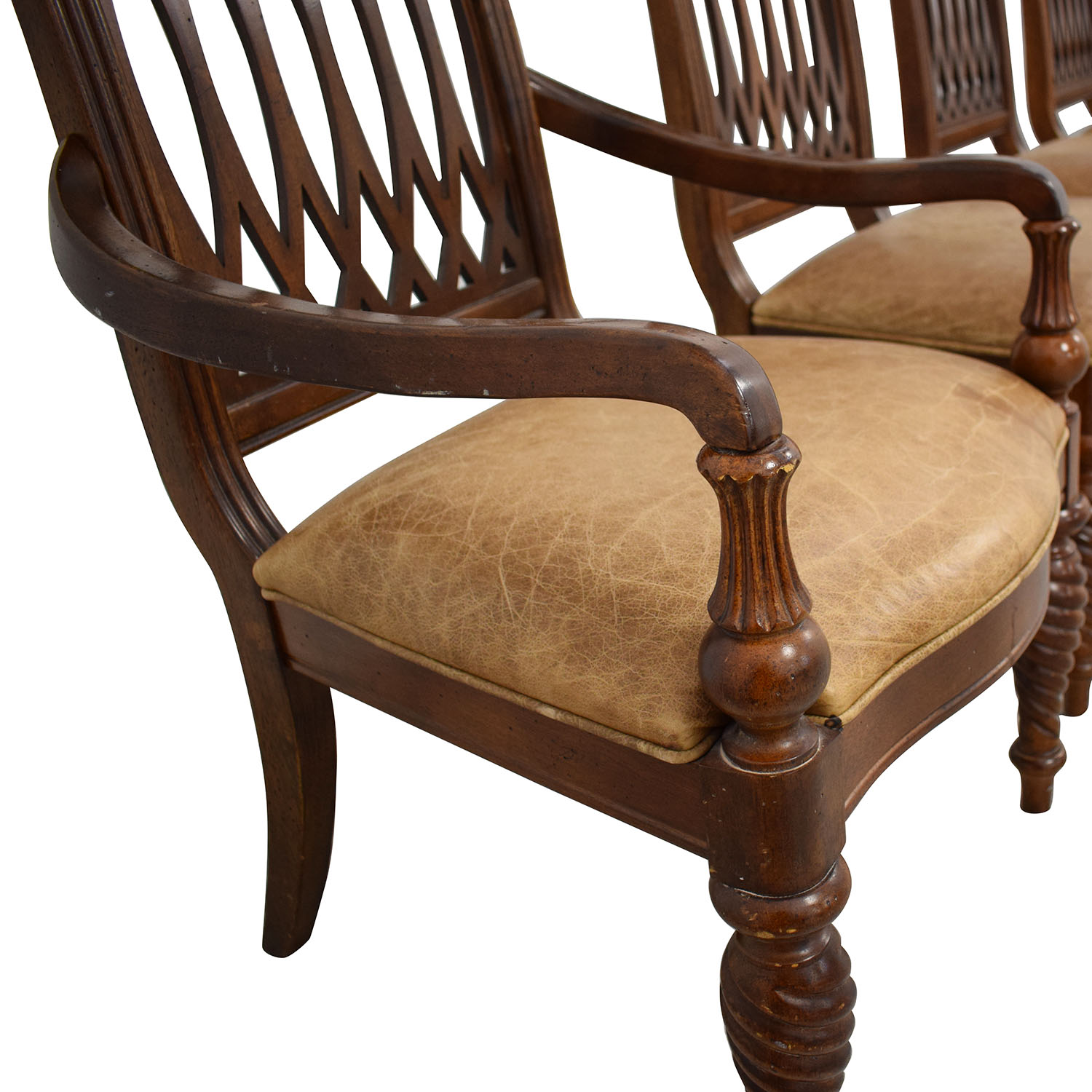 Bernhardt Bernhardt Embassy Row Cherry Carved Wood Dining Chairs for sale