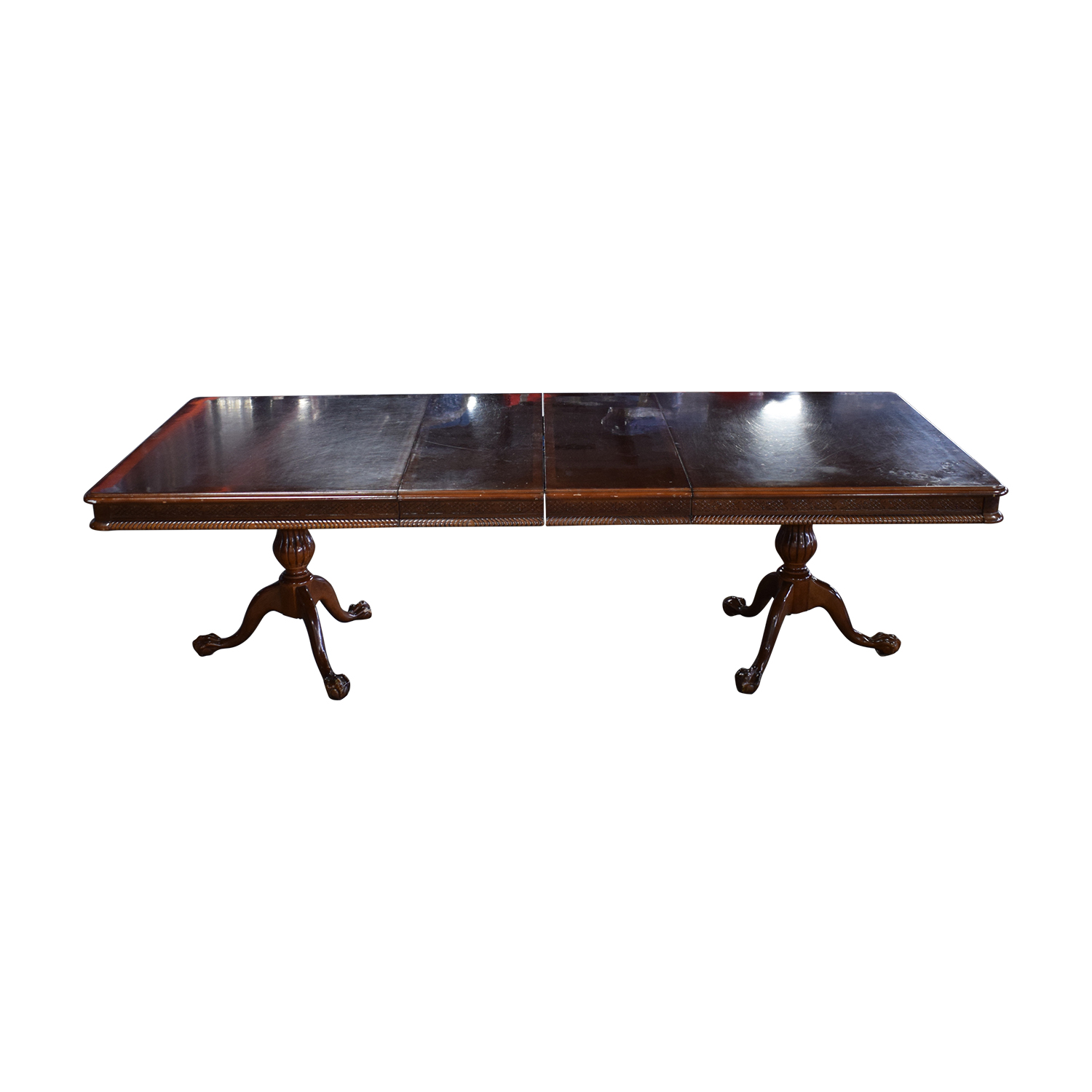 Carved Wood Dining Table with Two Extensions / Dinner Tables