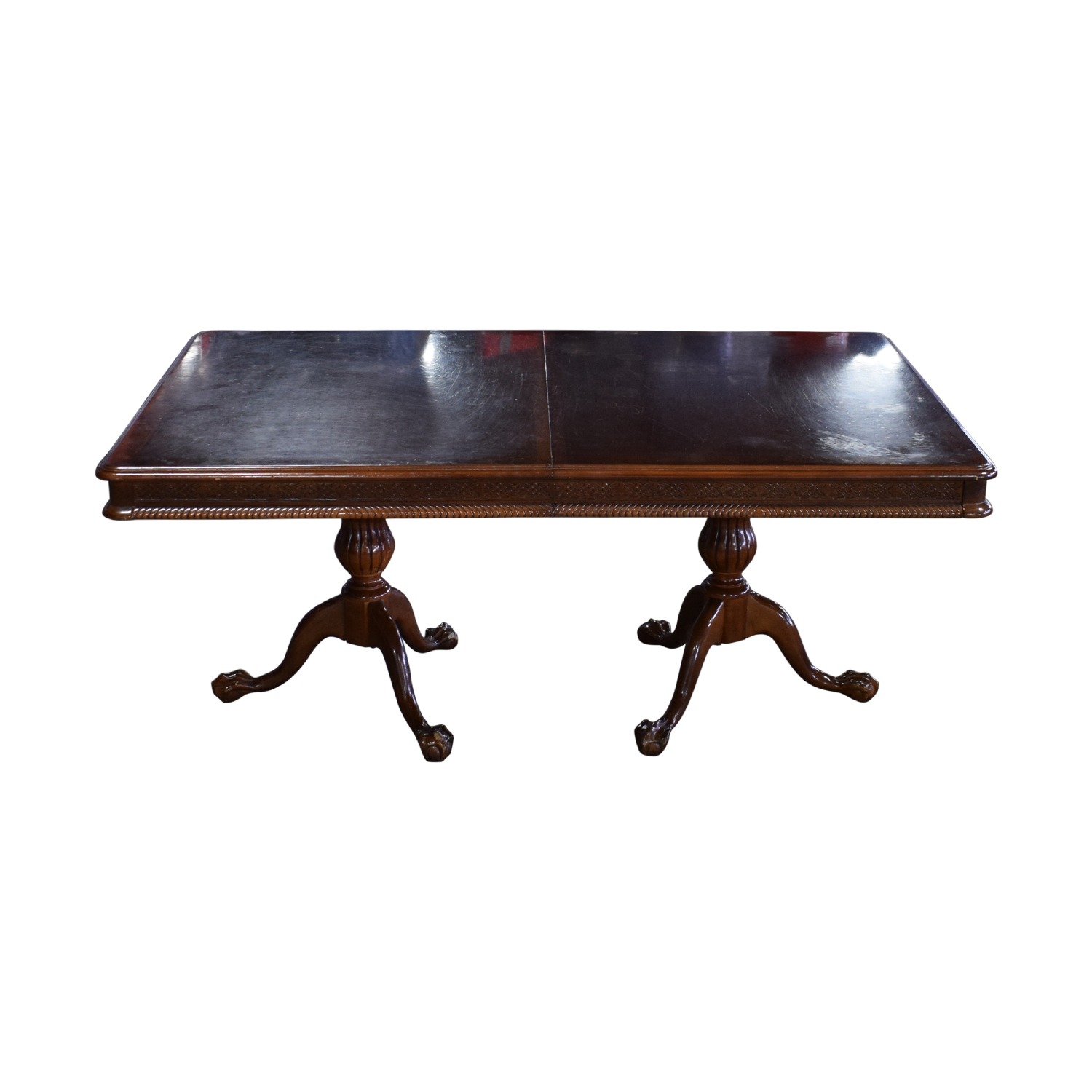 Carved Wood Dining Table with Two Extensions