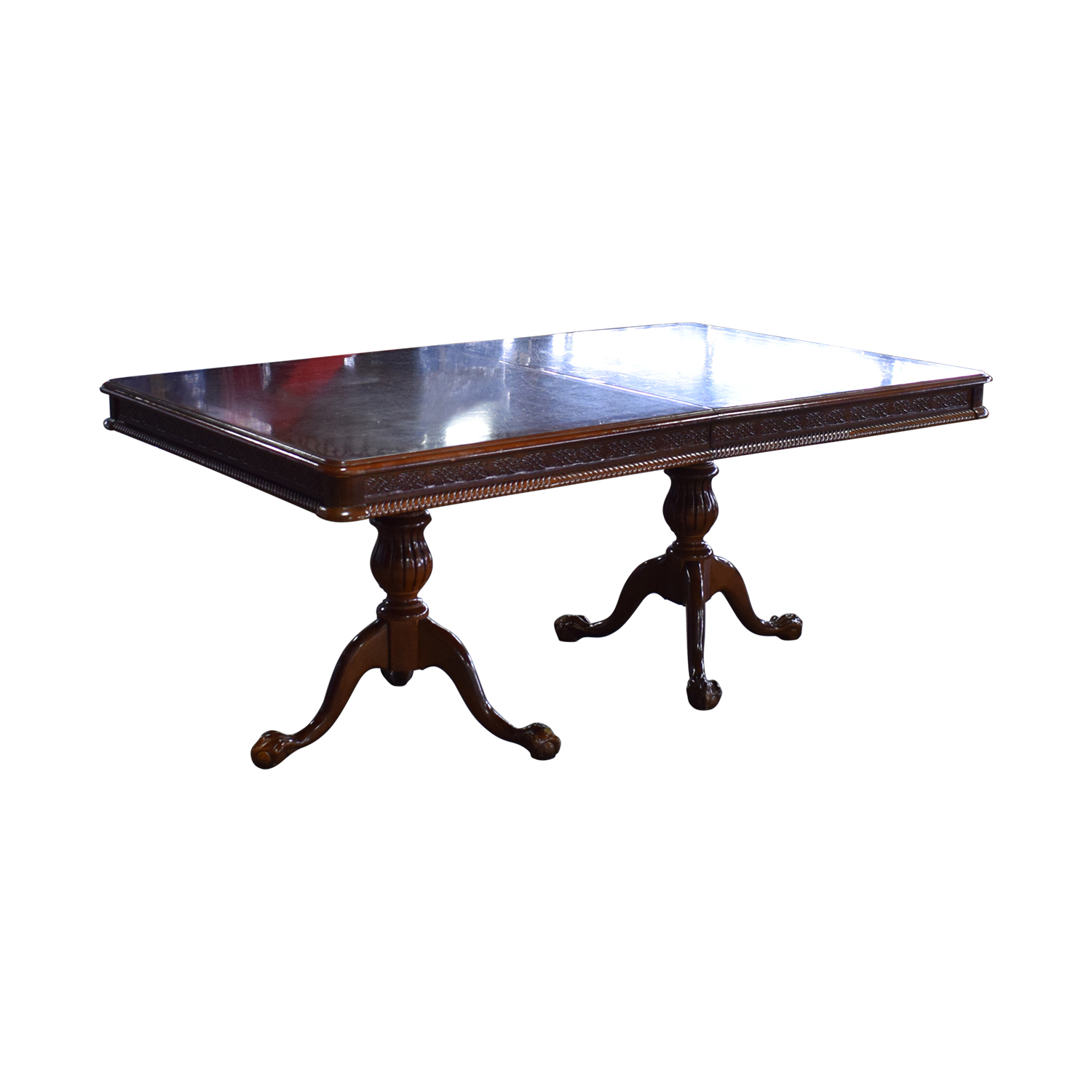 Carved Wood Dining Table with Two Extensions coupon