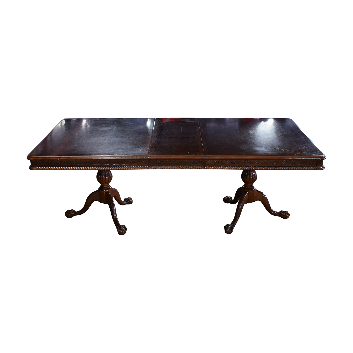 Carved Wood Dining Table with Two Extensions dimensions