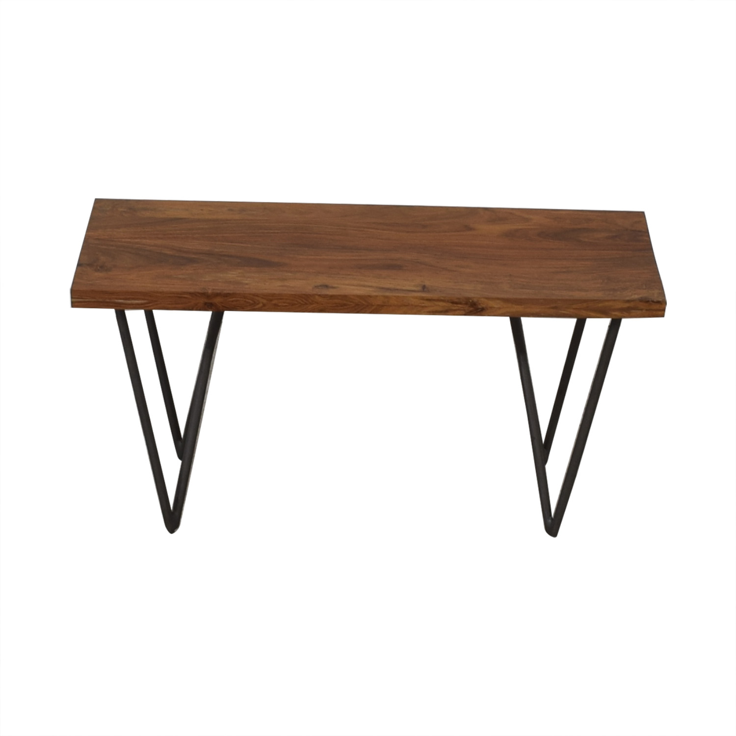 CB2 CB2  Wood and Green Bench for sale