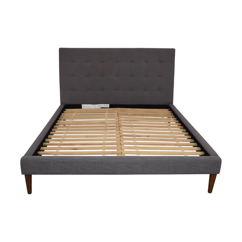 buy West Elm Grid Tufted Queen Bedframe West Elm Bed Frames
