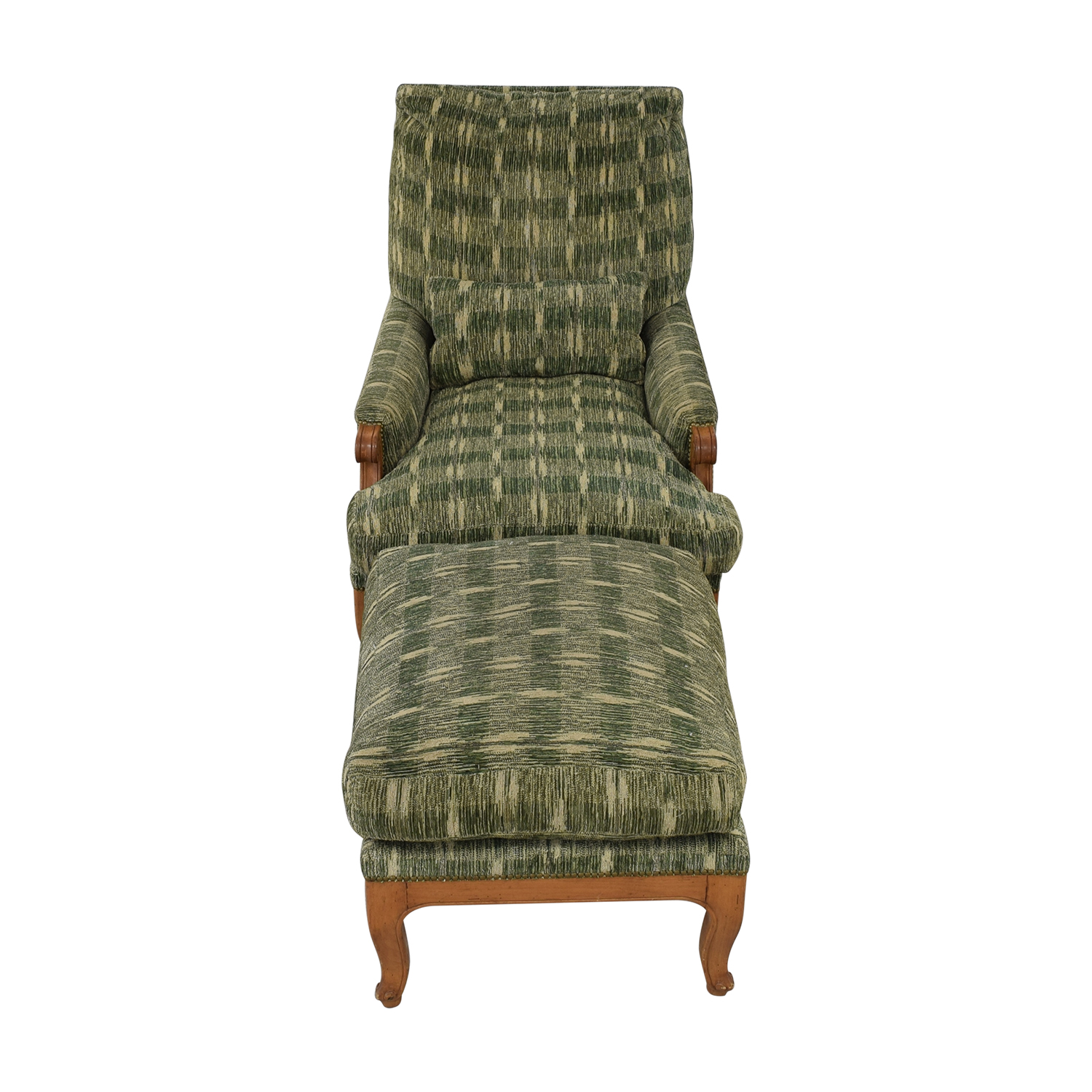 Rose Tarlow Rose Tarlow Overstuffed Chair with Ottoman Green