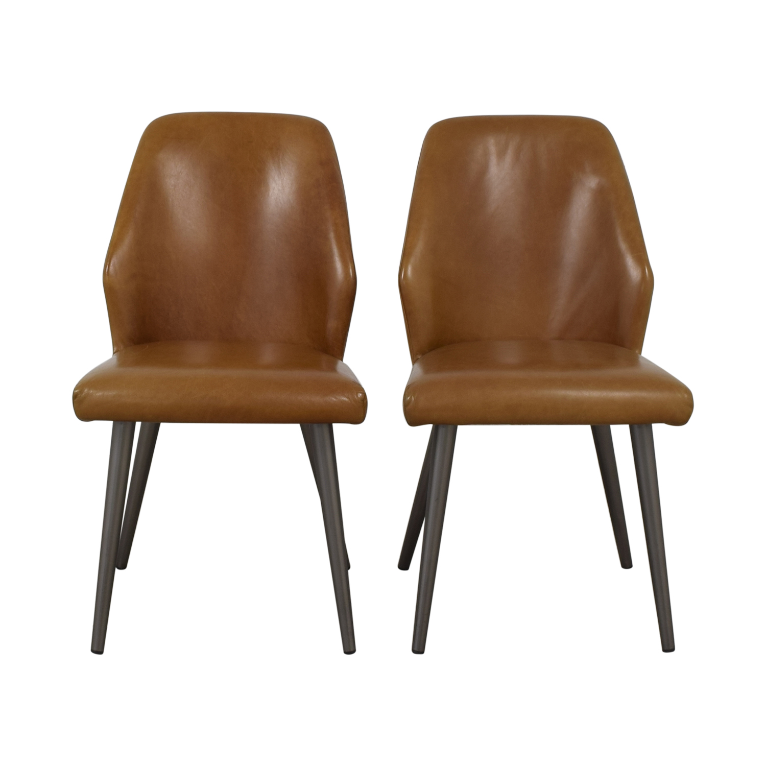 West Elm West Elm Crawford Leather Dining Chair in Saddle dimensions