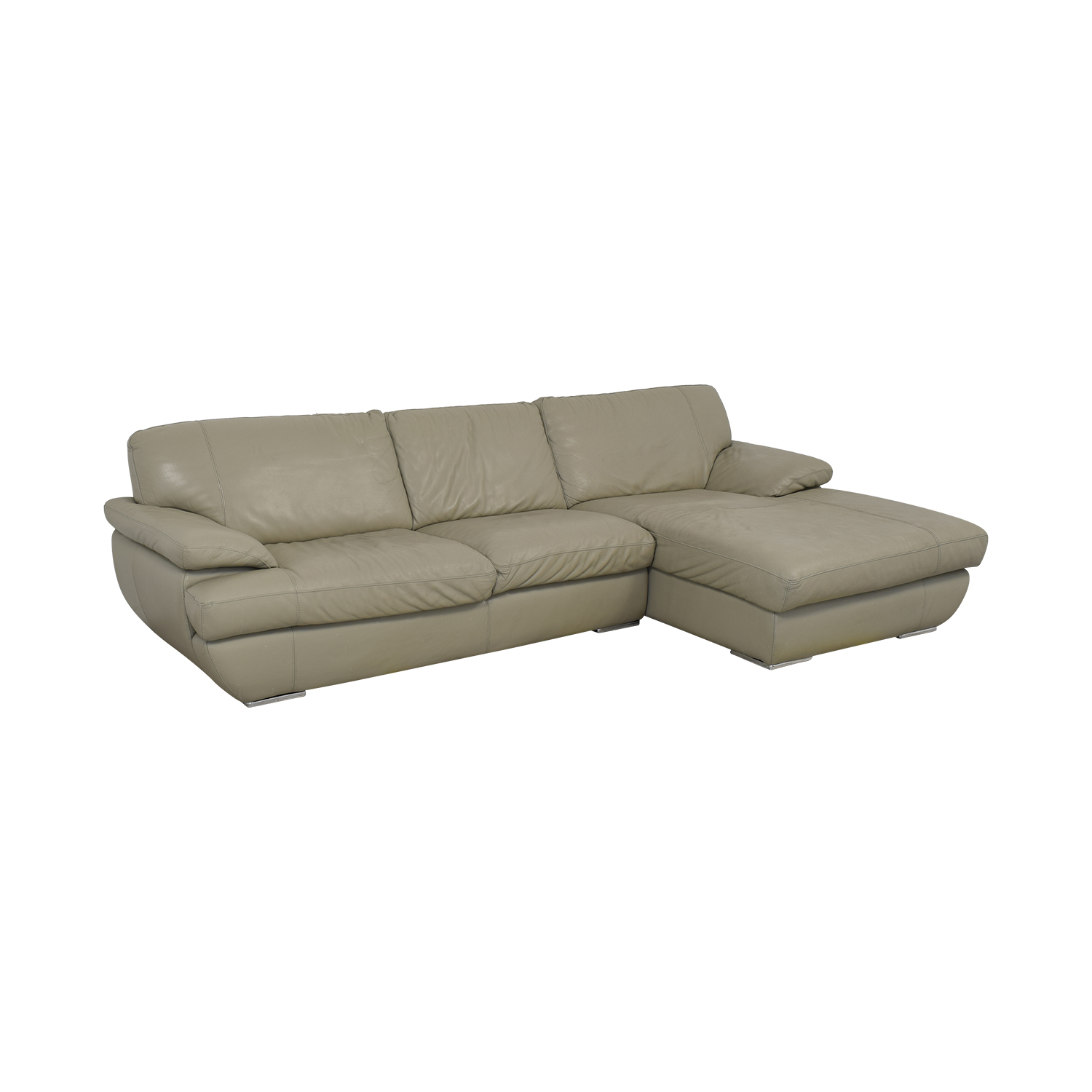 Bloomingdale's Bloomingdale's Gray Leather Sofa second hand