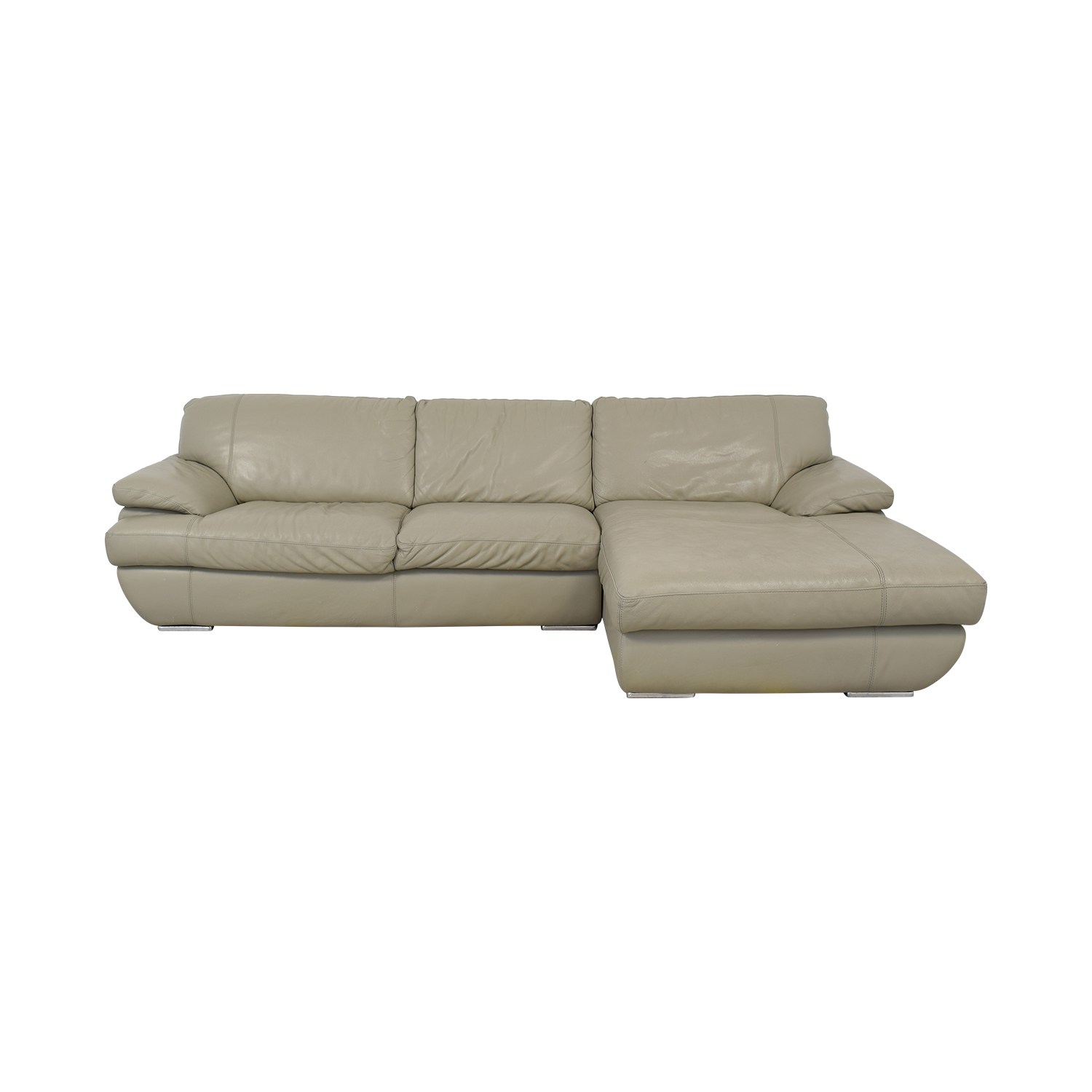 shop Bloomingdale's Gray Leather Sofa Bloomingdale's Sofas