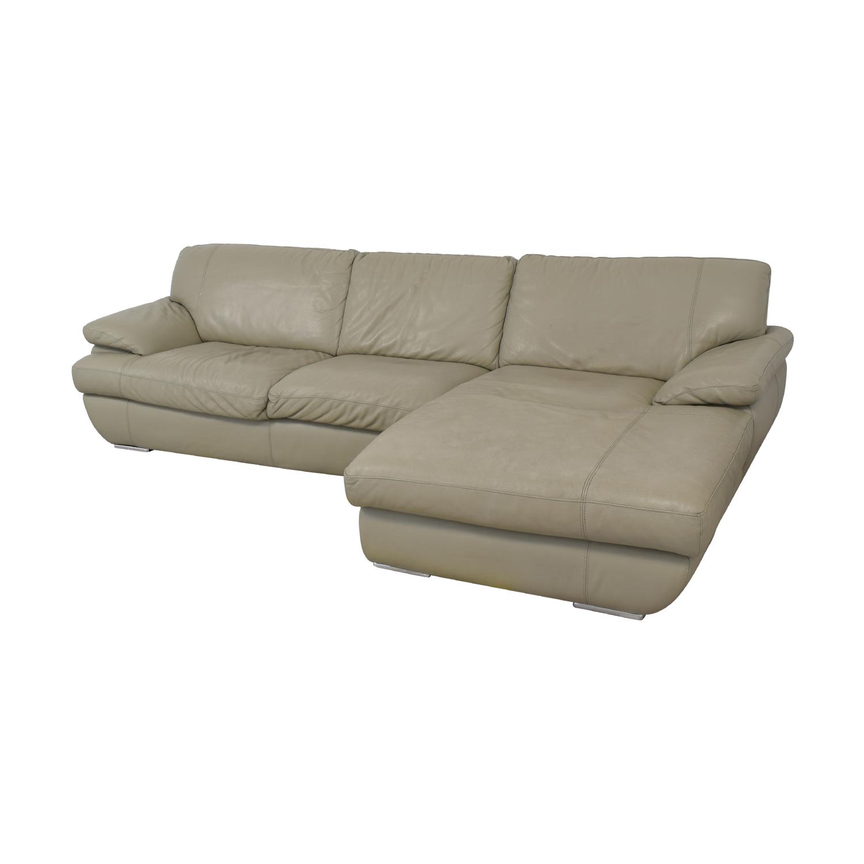 85% OFF - Bloomingdale\'s Bloomingdale\'s Gray Leather Sofa / Sofas