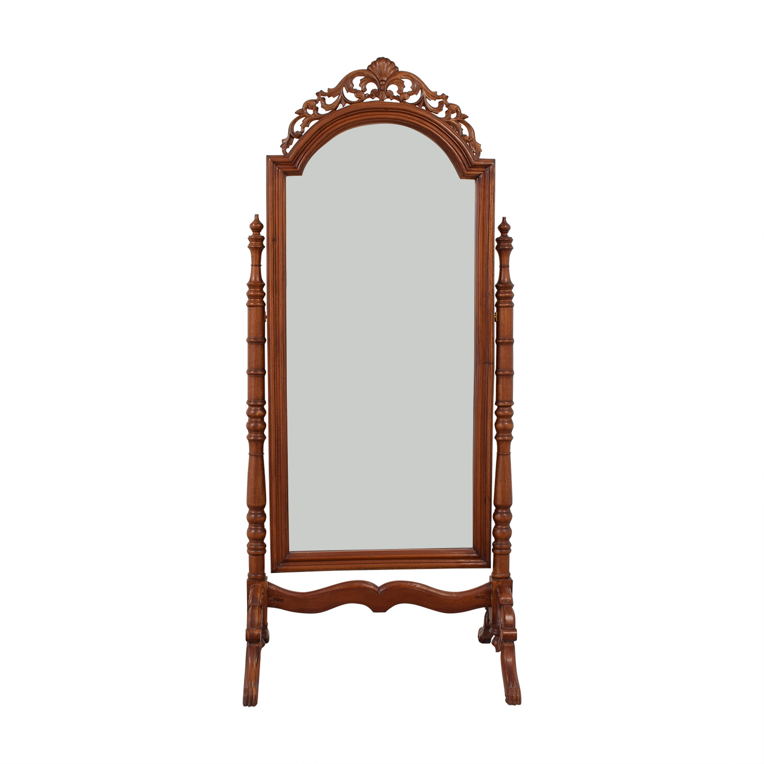 Carved Wooden Standing Mirror on sale