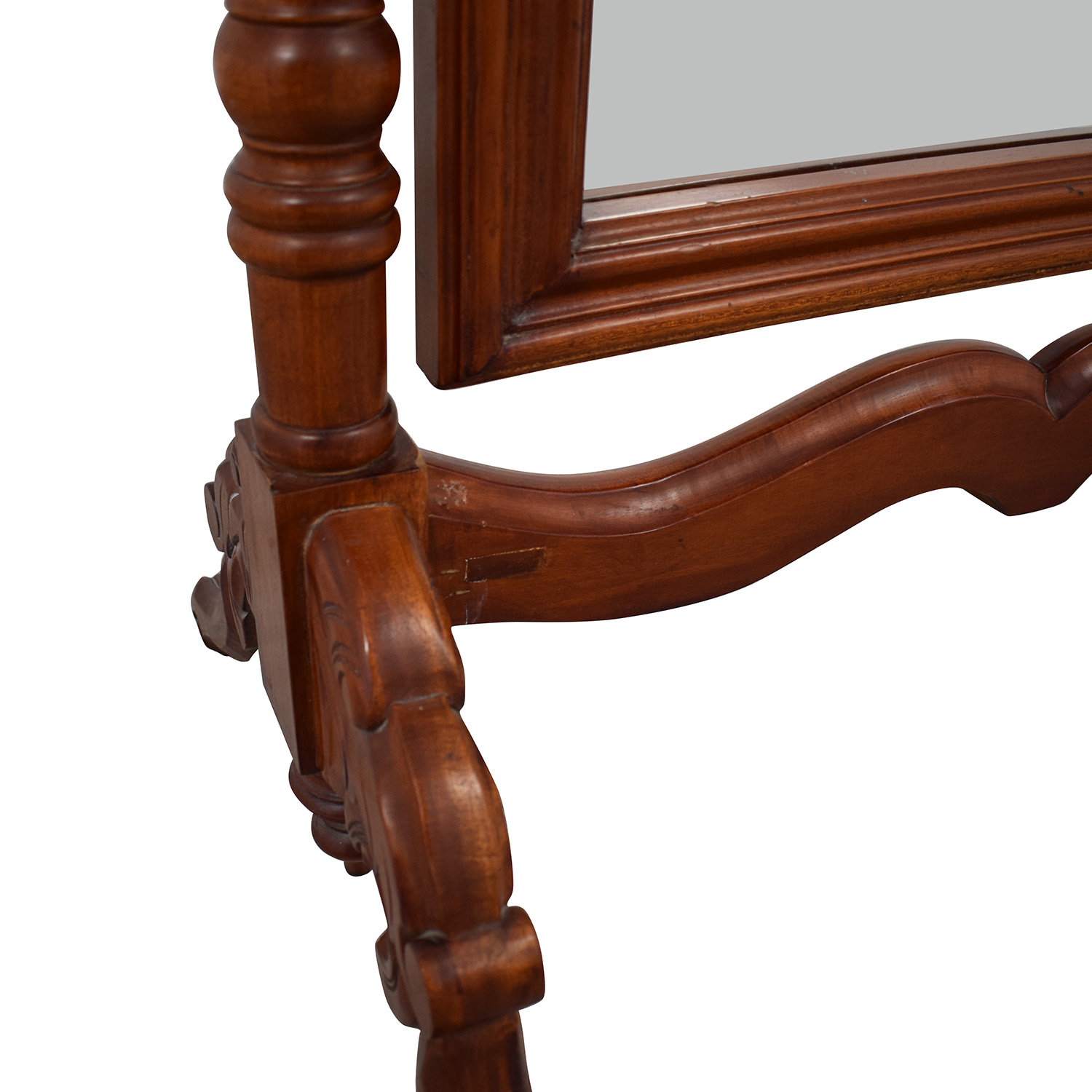 Carved Wooden Standing Mirror Decor