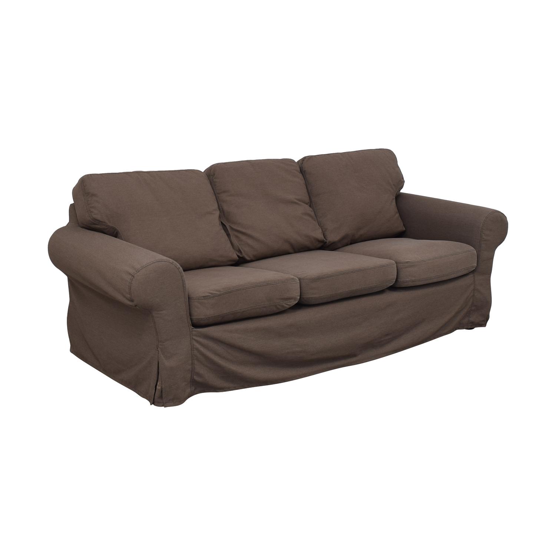 IKEA IKEA Ektorp Brown Couch and Ottoman Sofas