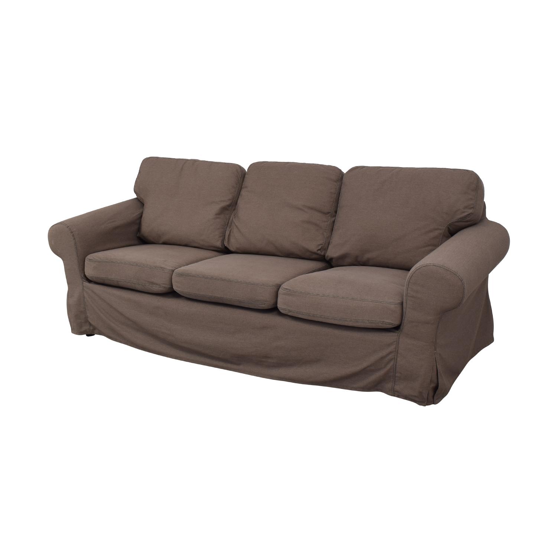 IKEA IKEA Ektorp Brown Couch and Ottoman purple