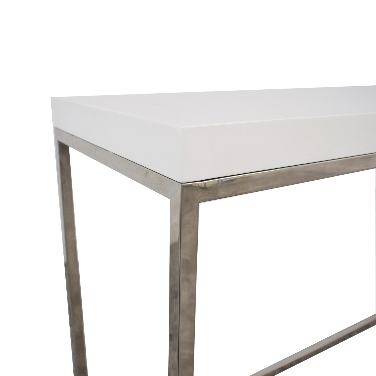 80% OFF   White And Metal Console Table / Tables