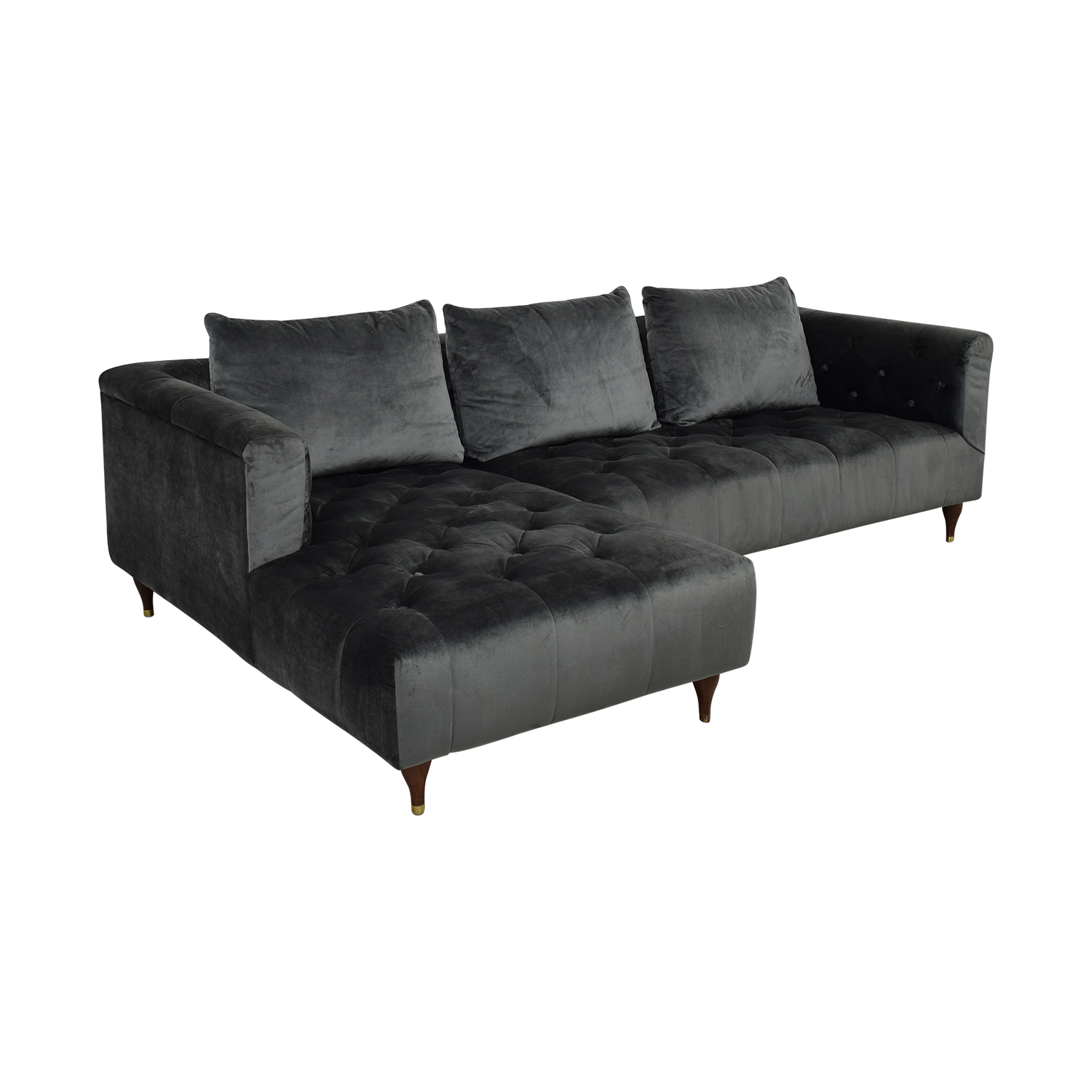 Interior Define Ms. Chesterfield Sectional Sofa with Left Chaise used