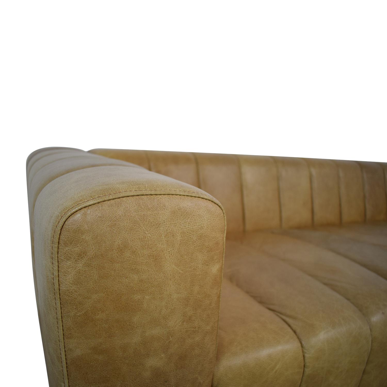 CB2 Forte Saddle Leather Channeled Sofa Extra Large CB2