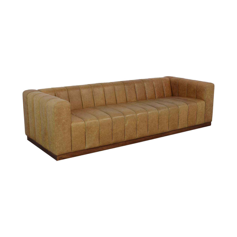 buy CB2 CB2 Forte Saddle Leather Channeled Sofa Extra Large online