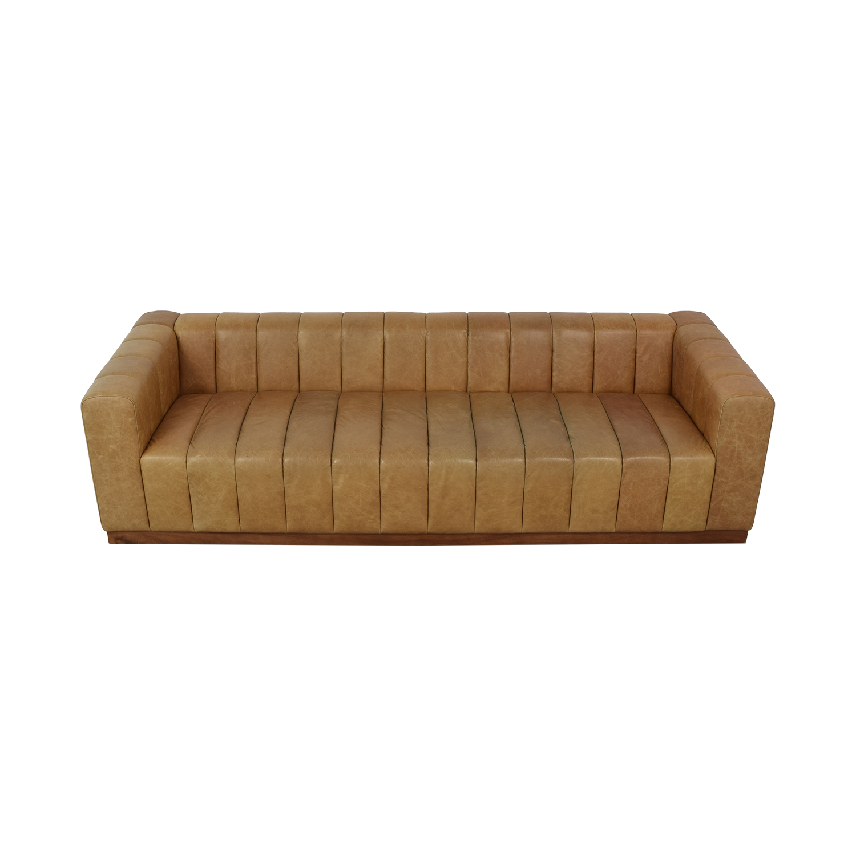 CB2 CB2 Forte Saddle Leather Channeled Sofa Extra Large on sale