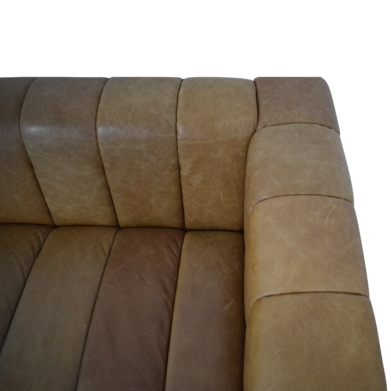 CB2 Forte Saddle Leather Channeled Sofa Extra Large sale