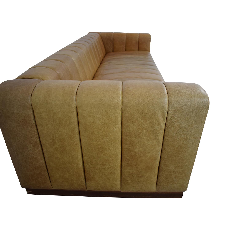 buy CB2 Forte Saddle Leather Channeled Sofa Extra Large CB2 Sofas