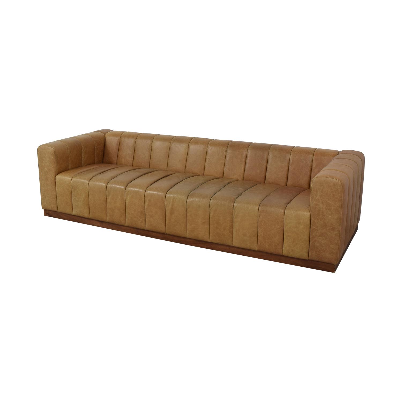 CB2 CB2 Forte Saddle Leather Channeled Sofa Extra Large used