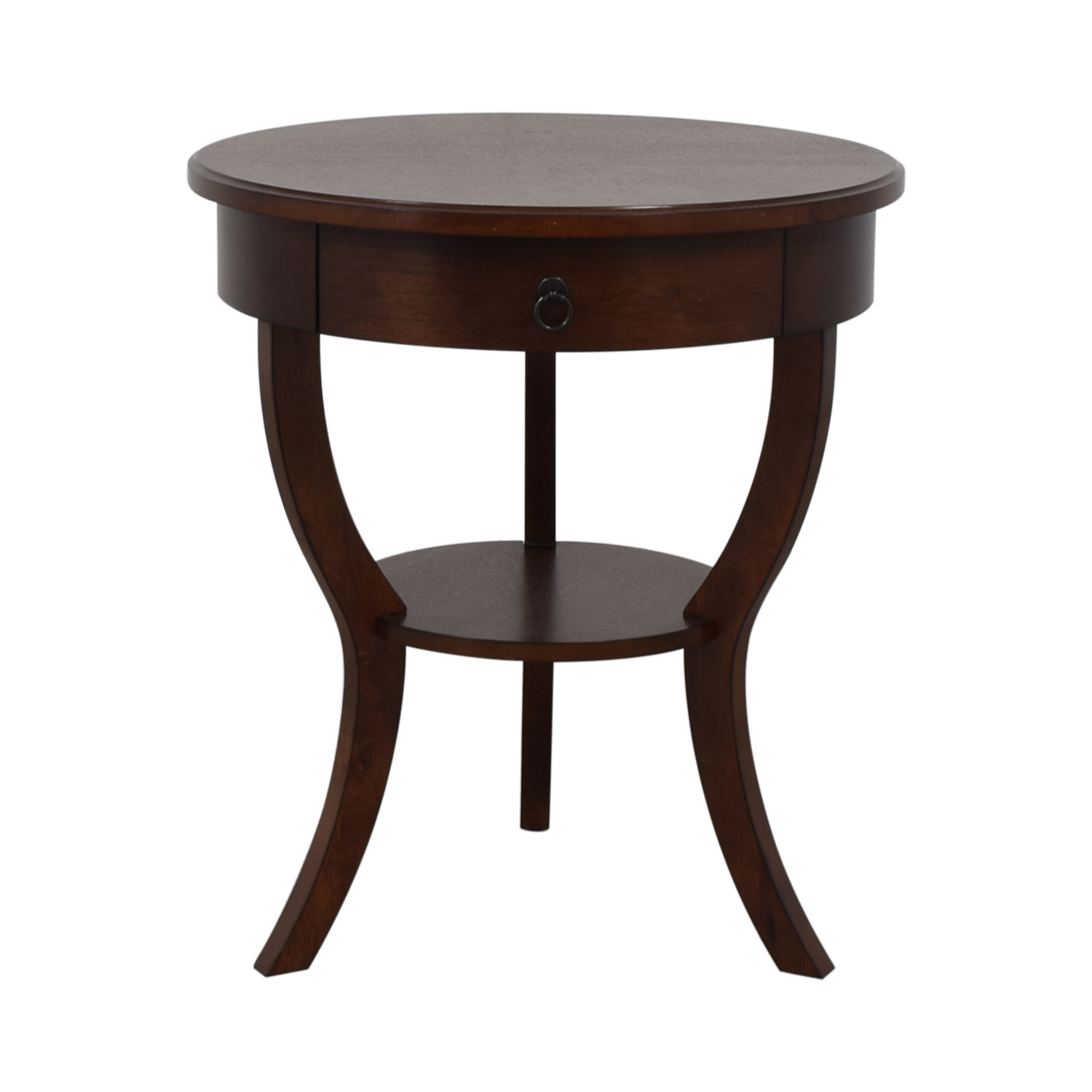 Pottery Barn Carrie Round Single-Drawer Pedestal End Table sale