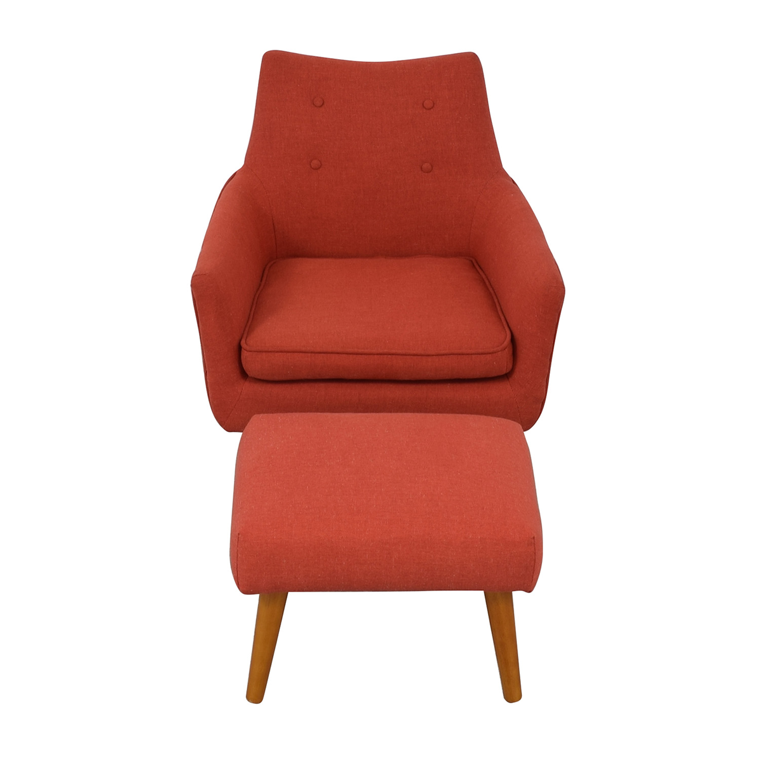 West Elm West Elm Mid Century Chair with Ottoman for sale