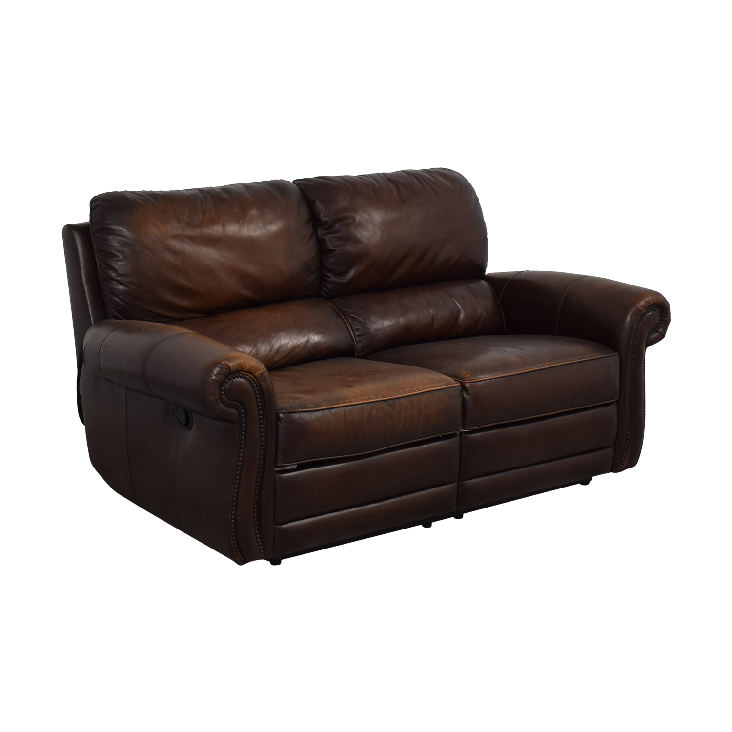shop Raymour & Flanigan Leather Loveseat Recliner Raymour & Flanigan