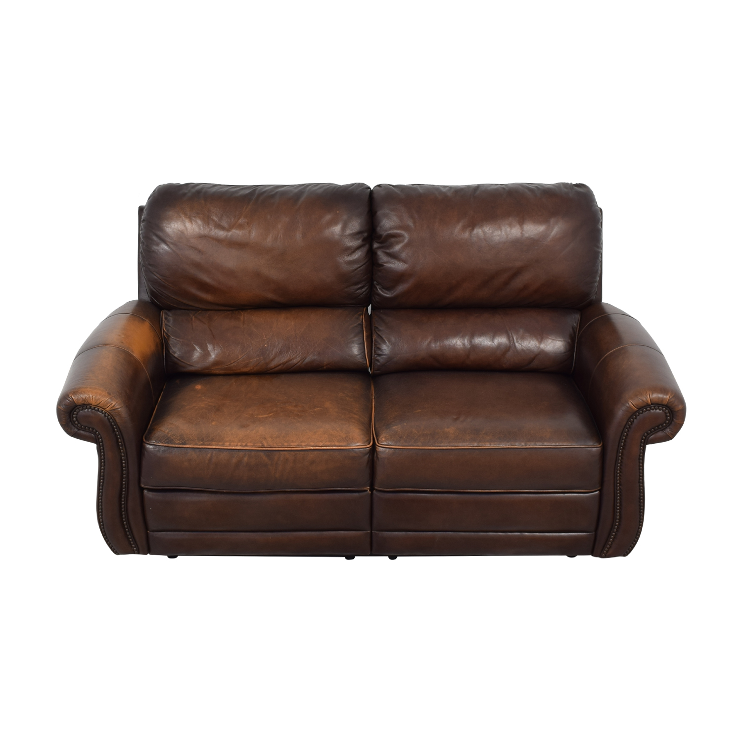 shop Raymour & Flanigan Raymour & Flanigan Leather Loveseat Recliner online