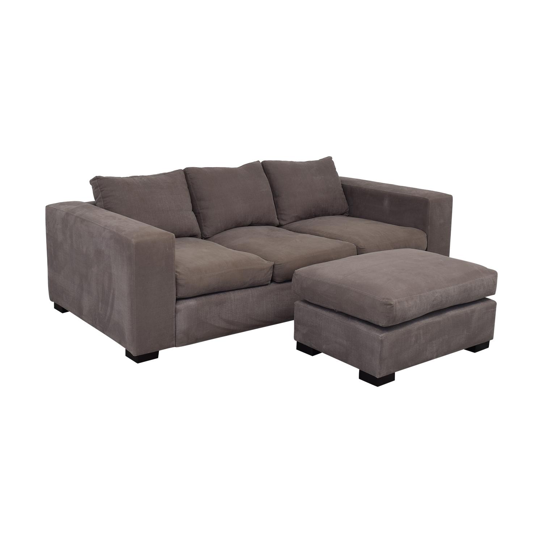 Raft Raft Three Cushion Sofa and Ottoman grey