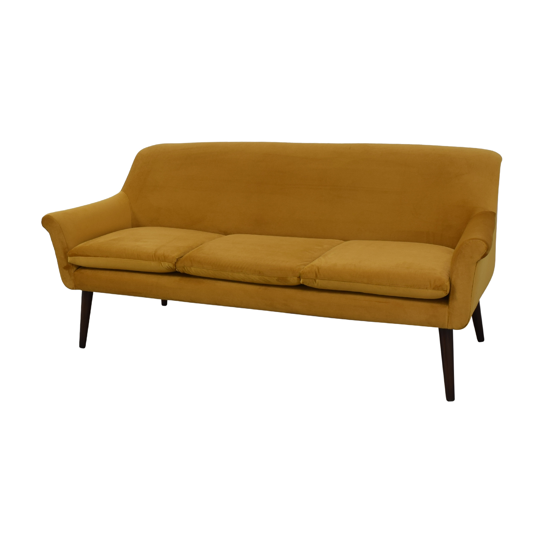 Urban Outfitters Yellow Velvet Sofa / Sofas